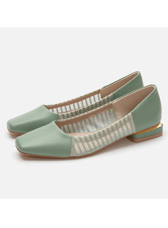 Patchwork Square Toe Shoes