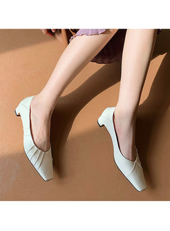 Basic Square Toe Low Heels Shoes