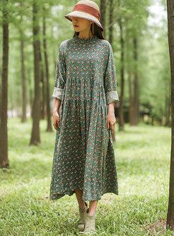 Floral Mock Neck Long Sleeve Maxi Dress