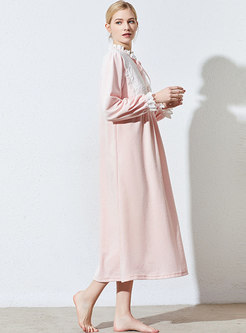 Lace Patchwork Loose Velvet Nightgown