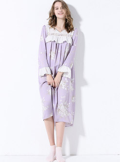 Print Lace Patchwork Loose Midi Nightgown