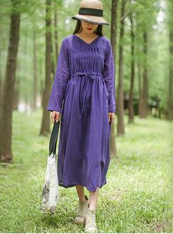 Long Sleeve Drawstring A Line Dress