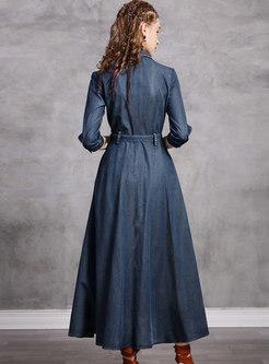 Embroidered A Line Half Sleeve Denim Dress