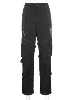 Black High Waisted Straight Cargo Pants