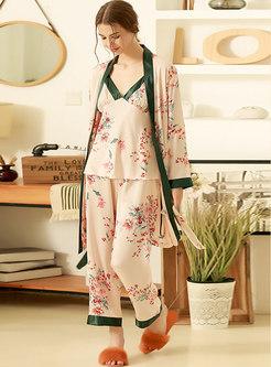 Color Block Floral Three Pieces Pajama Set