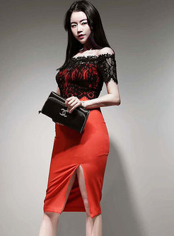 Patchwork Lace Slash Neck Bodycon Dress