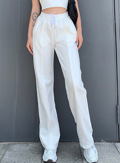 Casual Elastic Waist Pant with Pockets