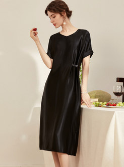 Satin V-neck Loose Shift Dress