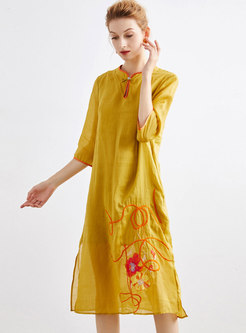 Embroidered Three Quarters Sleeve Shift Dress