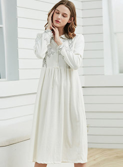 Velvet Lace Long Sleeve Pleated Nightgowns