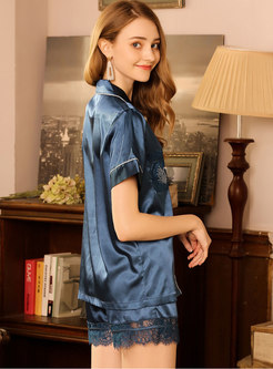 Lace Patchwork Button Shorts Down Pajama Set