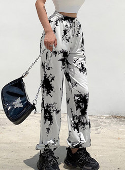 Elastic Waist Drawstring Print Straight Pants