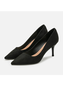 Black Pointed Toe Low-fronted Pumps