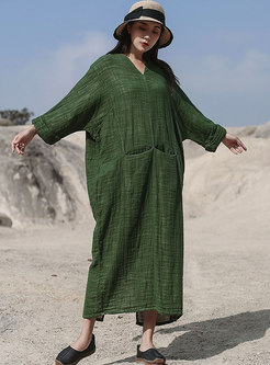 Plus Size Bat Sleeve Shift Linen Dress
