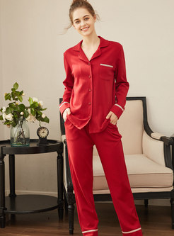 Red Long Sleeve Sleep Shirt & Straight Pants