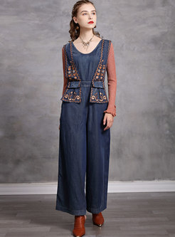 V-neck Sleeveless Embroidered Denim Jumpsuits