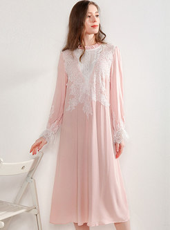 Lace Patchwork Long Sleeve Shift Nightdress