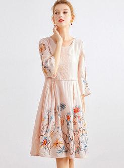 Embroidered Crew Neck A Line Knee-length Dress