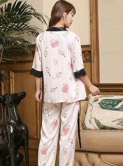 Color-blocked Print Striped Pajama Set
