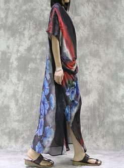 Print V-neck Ruched Maxi Dress With Camisole