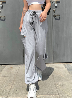 Drawstring High Waisted Openwork Joggers
