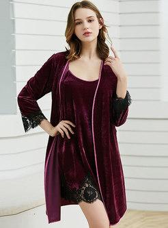 Long Sleeve Velvet Loose Robe Set