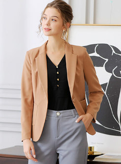 Notched Slim Office One Buttoned Blazer