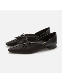 Pointed Toe Bowknot Openwork Low Heel Shoes