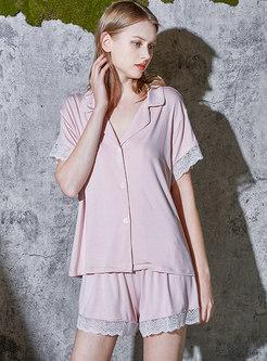 Openwork Lace Patchwork Short Pajama Set