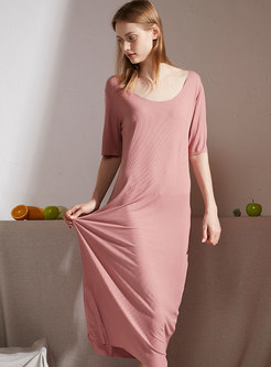 Solid Color Scoop Neck Loose Midi Dress