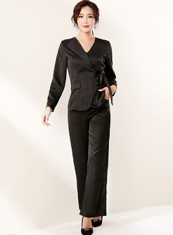 Long Sleeve Satin Slim Pant Suits