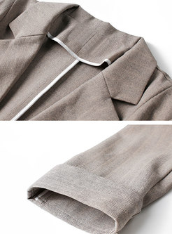 Notched 3/4 Sleeve Office Blazer With One Buttoned
