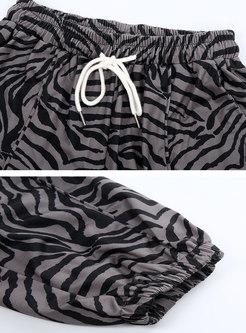 High Waisted Drawstring Zebra Casual Pants
