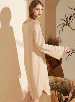 Plus Size Loose Long Sleeve Nightgown
