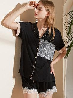 Color-blocked Lace Patchwork Pajama Set