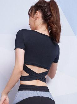 Short Sleeve Pullover Openwork Tight Top