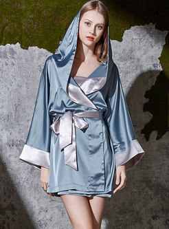 Color-blocked Hooded Loose Short Robe