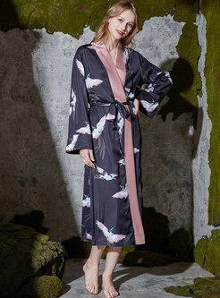 Color-blocked Animal Print Long Robe
