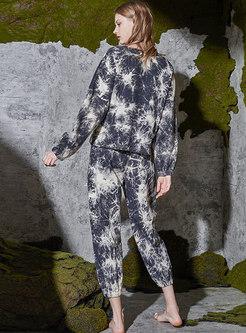 Crew Neck Pullover Loose Tie Dye Pajama Set