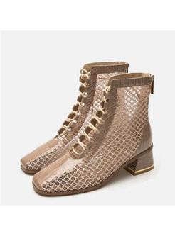Square Toe Openwork Ankle Boots
