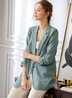 Green 3/4 Sleeve Striped Office Blazer