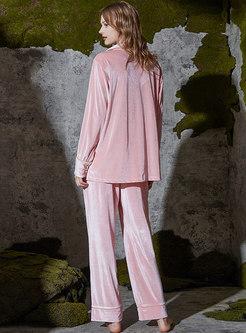 Long Sleeve Velvet Wide Leg Pajama Set