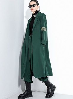 Notched Embroidered Long Straight Trench Coat