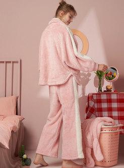 Color-blocked Coral Thicken Pajama Set