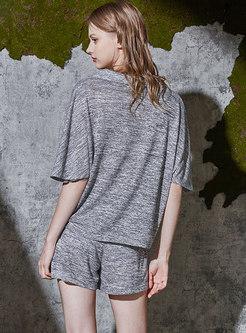 Brief V-neck Short Sleeve Short Pajama Set
