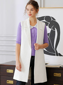 Notched Embroidered Knee-length Straight Vest