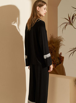 Lace Patchwork Long Sleeve Modal Pajama Set