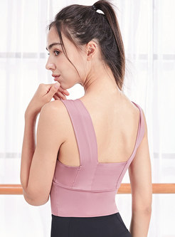 Square Neck Tight Cropped Sports Tops