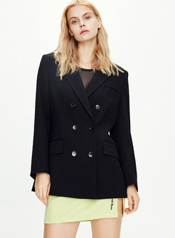 Notched Double-breasted Straight Blazer