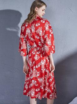 Red Print Slit 3/4 Sleeve Wrap Robe